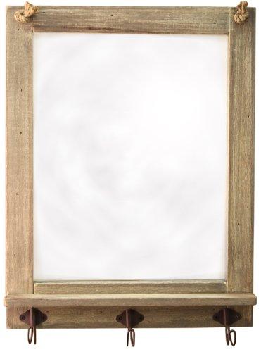 Espejo madera marco trozos madera ganchos Shabby Chic
