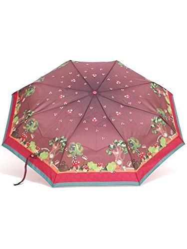 Braccialini ombrello donna, BC821 Bosco, ombrello mini tre sezioni antivento, tessuto pongee, colore marrone
