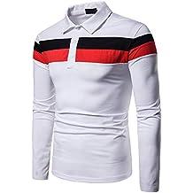 Yvelands Camisas para Hombre Casual, Polo con Paneles de los Hombres Camisa de Manga Larga
