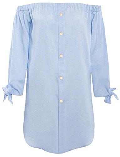 Lannron Damen Langarm Sommer Lose Knopf Denim Kleid, Schulterfrei Minikleider Jeanskleider Mini Tshirts Bluse Tops Freizeit, Farbe Blau, Size L (Cowboy-mini-taste)