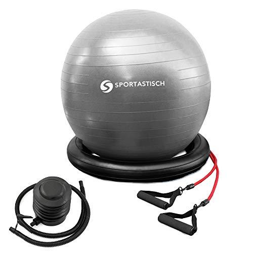 """EXCELENTE:: Pelota pilates """"Workout Ball"""" + bandas de resistencia + bomba + base de equilibrio Protección anti-burst :: 65 cm :: pelota gymnasia ritmica para mujeres embarazadas, adultos y niños :: 3 años de garantía"""