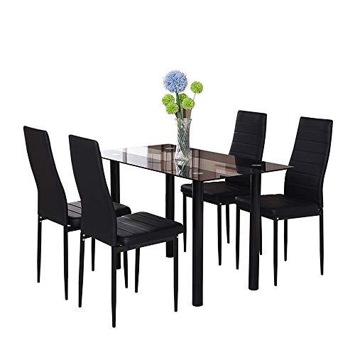 Huiseneu moderno in vetro nero set sala da pranzo e sedie da tavolo in ecopelle sedie per sala da pranzo cucina, glass dining table and 4 faux leather chairs, 1 table & 4 chairs