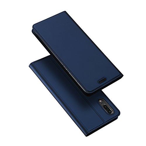 Coque Huawei P20,DUX DUCIS Étui de Protection Porte-cartes en Cuir Portefeuille Multi-Usage Housse Rabattable Fermeture Magnétique par Clapet ,TPU Bumper Case pour Huawei P20