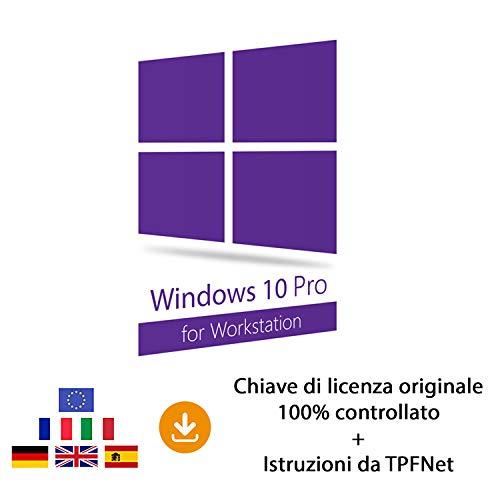 MS Windows 10 Pro Workstation 32 bit e 64 bit - Chiave di Licenza Originale per Posta e E-Mail + Guida di TPFNet - Spedizione max. 60min