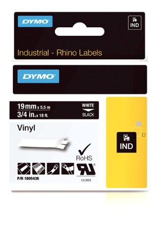 Dymo 1805436 Rhino Vinyl-Etiketten (für die Industrie, 9 mm x 5,5 m, Selbstklebend) weiße Schrift auf schwarz