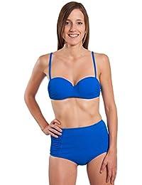 RAE–Badeanzug 2Bandeau Bikini Retro Hohe Taille Blau König