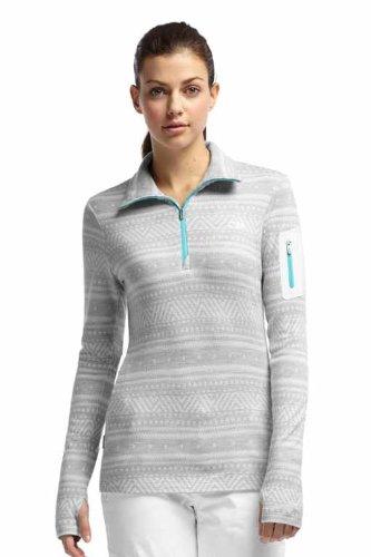 Icebreaker Damen Shirt Unterhemd langarm Rollkragen Vertex Long Sleeve Half Zip Fair Isle, Snow/Glacier, L, 101330101L
