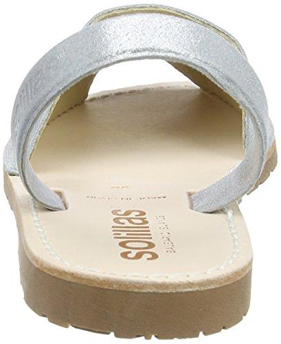 Solillas Damen Luna Slingback Sandalen Silberfarben