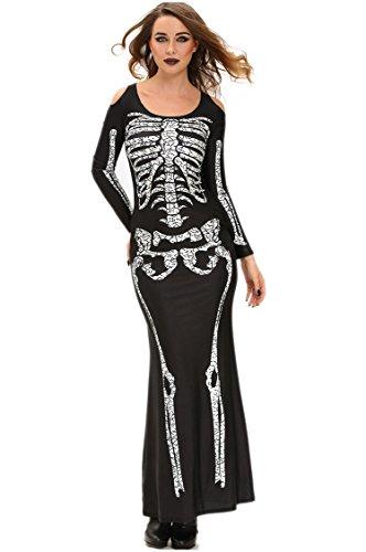 osplay Kostüm Serie Langes Hülsen Skelett Gedrucktes Kleid (Weibliche Skelett Kostüm)