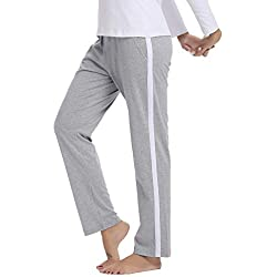 Hawiton Pantalones Deportivos para Mujer 100% Algodón Pantalón de Chándal con Bolsillos para Gimnasio Deportes Correr Entrenamiento Jogging Pantalones de Pijama Largos de Rayas (XX-Large, Gris)