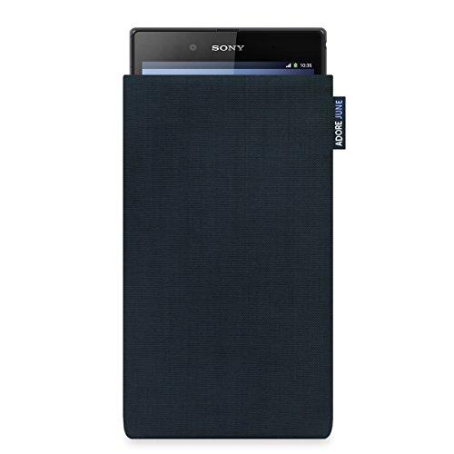 Adore June Classic Schwarz Tasche passend für Sony Xperia Z Ultra Handytasche aus widerstandsfähigem Cordura Stoff | Robustes Zubehör mit Bildschirm Reinigungs-Effekt | Made in Europe