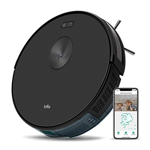 Trifo Ironpie m6+ Robot Vacuum Cleaner with Water Tank, 3 in 1 Mopping Vacuum Robot, 1800Pa Strong Suction, Remote Monitoring, Self-Charging, Wi-Fi Connectivity, Hard Floor to Low-Pile Carpet, Black