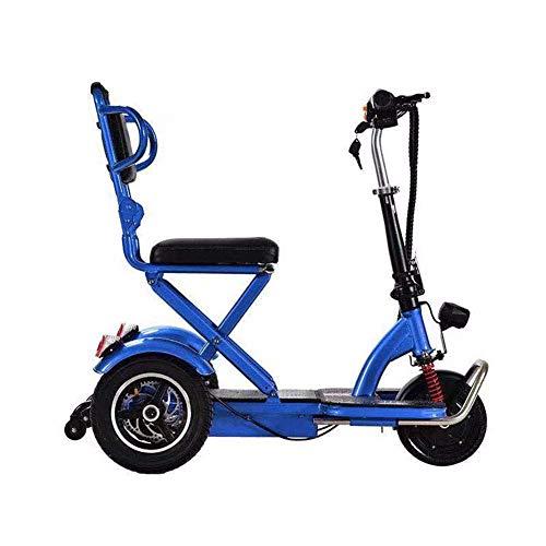 SUNBAOBAO Elektro-Dreirad, Faltbare 8-Zoll-Mini beweglicher Scooter Old Behinderte elektrischer Roller 55km Cruise Entfernung LOD Highlight Scheinwerfer,Blau,55KM