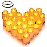 Flammenlose LED Tee Kerze, Lunsy Magicpro Batterie Farblose LED Kleine Kerze Teelichter 24 STÜCKE
