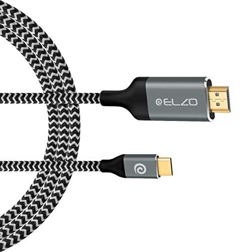 ELZO USB C auf HDMI Kabel(4K@60Hz), 1.8m USB 3.1 Typ C auf HDMI Kabel(Thunderbolt 3 kompatibel) für MacBook Pro 2018/2017, iMac 2017/MacBook Air 2018, Galaxy Note 9/S9/S8, Huawei Mate 20 Pro/P20, mehr