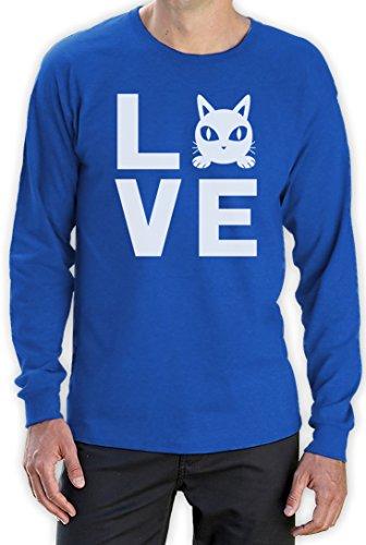 Love Katze - Perfektes Geschenk für Katzenfreunde Langarm T-Shirt Blau
