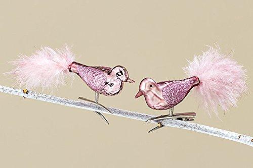 Baumschmuck Vogel mit Clip Set 2-tlg. Glas rosa L 13 cm