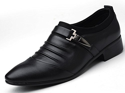 MLFMHR Hommes daffaires Casual Chaussures British Fashion Chaussures Pointues Banquet Robe Chaussures Grande Taille 45.46.47 black