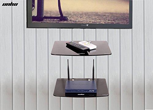 Mensole Da Parete Per Lettore Dvd : Unho pneumatico in vetro temperato mensola mensole nero