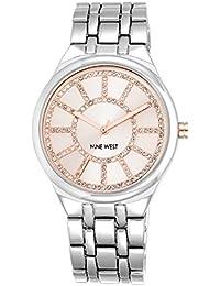 Nine West reloj de cuarzo para mujer con rosa Esfera Analógica Pantalla y Pulsera de aleación de plata NW/1807pksb