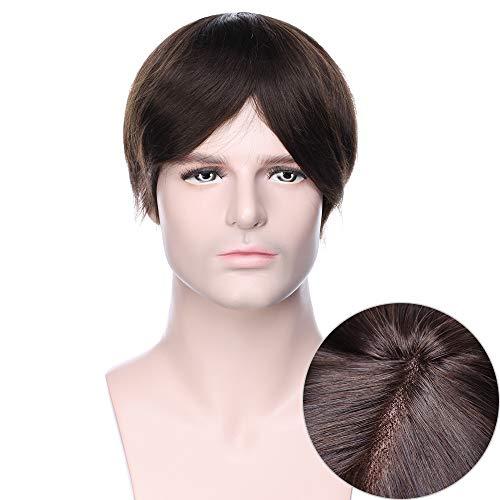 15cm Toupee Uomo Capelli Veri Lace 6'*8' Castano Scuro - Parrucchino Corta Crochet Toupet Human Hair Lisci Topper 50g 130% Density Traspirante [Base: Mono Lace + PU]
