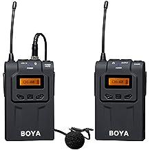 BOYA BY-WM6 UHF Lavalier Micrófono Inalámbrico de Solapa Omni-direccional para ENG, EFP, DV, Canon 650D 700D 7D 5D2 5D3 Nikon D800 D700 D600 Sony Panasonic DSLR Videocámara cámara Audio Grabadores ZOOM H4n H5 H6 TASCAM