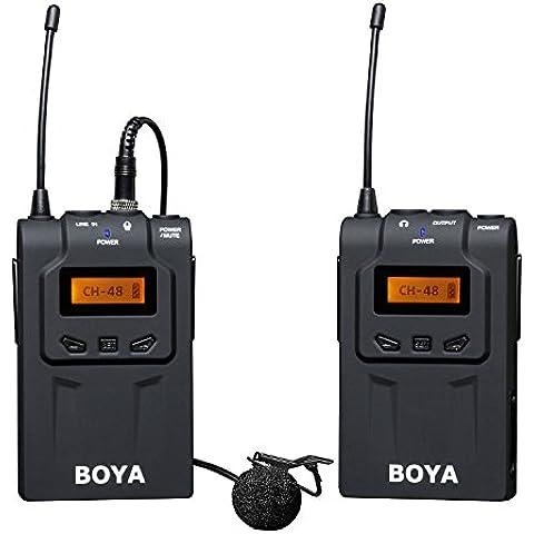 BOYA BY-WM6 UHF Lavalier Micrófono Inalámbrico de Solapa Omni-direccional para ENG, EFP, DV, Canon 650D 700D 7D 5D2 5D3 Nikon D800 D700 D600 Sony Panasonic DSLR Videocámara cámara Audio Grabadores ZOOM H4n H5 H6