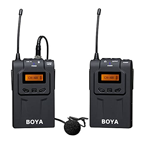 BOYA BY-WM6 48-Channel UHF Professional Omni-Directional Wireless Lavalier Microphone System with Real Time Monitor for (48 Filo)