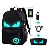 School Bags,Anime Luminous Backpack USB chargeing Port Laptop Bag Handbag Canvas Shoulder Daypack