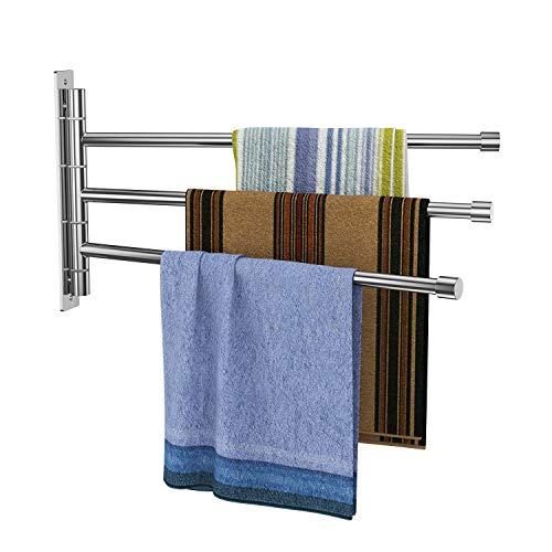 Derpras Handtuchhalter dreiarmig Edelstahl Gebürstet Handtuchstange 34CM 180°drehbar Wandmontage 5KG Belastung für Badezimmer und Küche (Drehbarer Handtuchhalter)