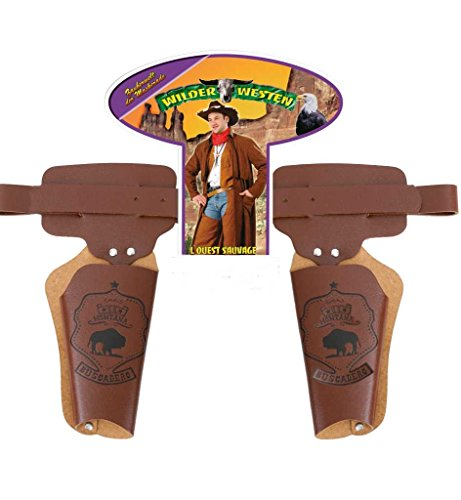 Doppelholster ca. 90 cm, Karneval, Accessoire, Cowboy, Sheriff, Schnalle Holster, Revolverholster, Pistolenholster, Gürteltasche, Wilder Westen, Westen, Wild West, Cowboy und Indianer, Rollenspiele, Gürtelholster, Pistolentasche Revolvertasche, Kostümzubehör, Kunstledergürteltasche Sheriff-holster