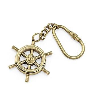 Abbott Collection Ship's Wheel Key Chain, Brass