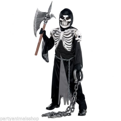 Skelettierter Gruft Wächter Sensenmann Kostüm 8-10 Jahre