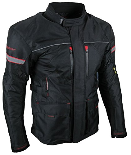 Heyberry Textil Touren Motorrad Jacke Motorradjacke schwarz rot Gr. M Schwarz Rot Jacke