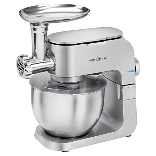 Küchenmaschine mit Fleischwolf Rührmaschine mit Edelstahl Schüssel 6,5 Liter (Knetmaschine, 1000 Watt, Rührbesen,Knethaken, 6 Stufen) -