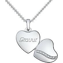1 Namen Gravur Partner Freundschaft Ich liebe Dich Anhänger mit Kette Silber 925