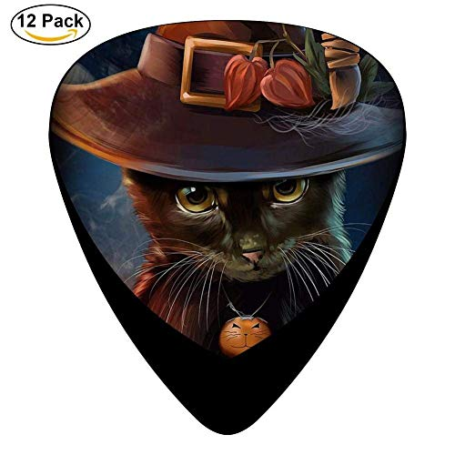 Celluloid Guitar Picks For Acoustic Guitar,Print Halloween Cat Lady,12 Pack