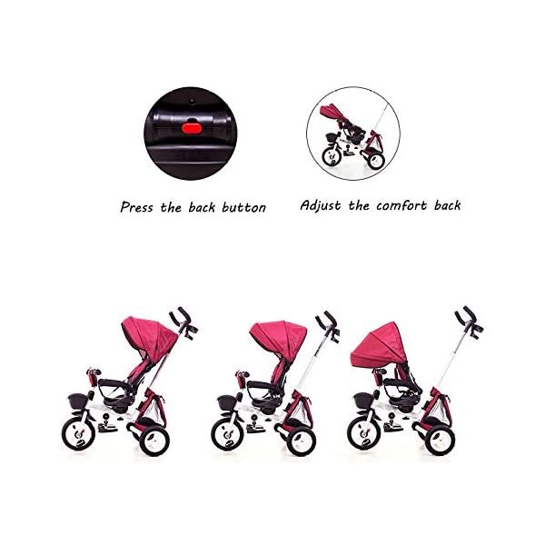 Childrens Folding Tricycle 12 Months To 6 Years 360° Swivelling Saddle Childrens Tricycles Seat Can Be Adjusted Back Folding Sun Canopy Handle Bar Kids Tricycle Maximum Weight 25 Kg,Purple BGHKFF ★Material: Carbon steel + environmental protection paint, suitable for children from 1 to 6 years old, the maximum weight is 25 kg ★ 4 in 1 multi-function: can be converted into a stroller and a tricycle. The seat can be rotated 360°, parent-child interaction, and can also move back and forth ★Safe design: three-point seat belt, front wheel clutch, safer on the way, rear wheel brake, lock rear wheel 7