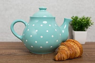 City to Cottage | Théière | bleue turquoise à pois blancs en céramique avec couvercle et anse faite et peinte à la main | Grande 1,7L 4-6 tasses