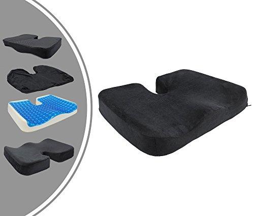 Leogreen - Gel Pad Seat Orthopedic Cushion, Memory Foam Coccyx Pillow, Black, Size: 45 x 35 x 7 cm, Weight: 1.08 kg