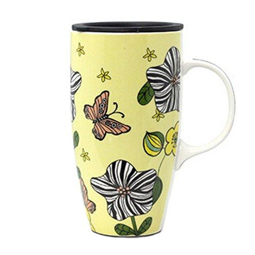 Blancho Creative Céramique Cup Mug/Café Avec Motif papillon, jaune