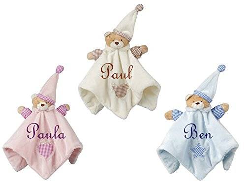 Baby Kuscheltuch Bär mit Namen bestickt Taufe Flauschige Bett Tröster