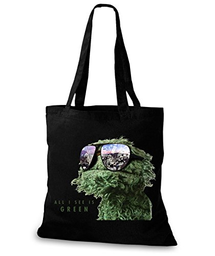 StyloBags Jutebeutel / Tasche All I See is green Schwarz