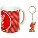 Liverpool FC Keramik 313ml & Wappen Tasse Schlüsselanhänger Geschenk Set