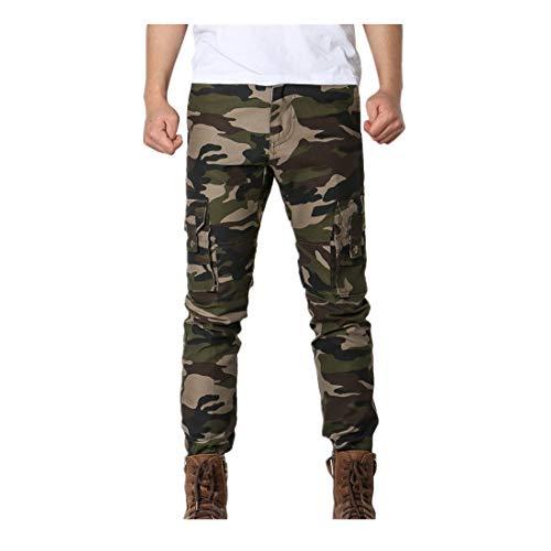 Mens Army Hosen Multi-Pocket-Kampf ReißVerschluss Cargo Taille Arbeit Casual Camo Sportwear Neue Jugend Outdoor Camouflage Jeans Sporthose Joggerhose Trainingshose Trousers Full Zip(Army Grün,33)