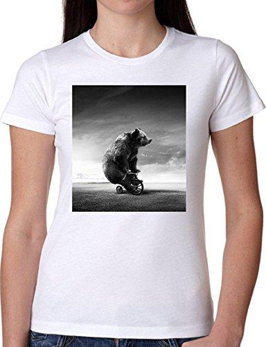 T SHIRT JODE GIRL GGG22 Z0253 CIRCUS MONOCYCLE CLOUDS BEAR WOOD ANIMAL FUNNY FASHION COOL BIANCA - WHITE