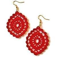 Orecchini rossi in pizzo pendenti ovali all'uncinetto fatto a mano barocco sicilia
