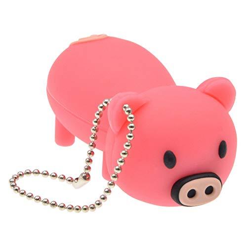 FbscTech USB-Speicherstick in Schweine-Form (USB 2.0) Pink/Schwarz 64 GB