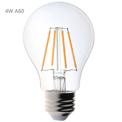 ALK 4W E26 E27 Screw Classic Dimmable Edison LED Filament Bulb Warm White 2700K GLS ES LED Vintage Edison Bulb Equivalent 40W 60W Incandescent Replacement Lighting Source (A19 4W=40Watts)[Energy Class A+]