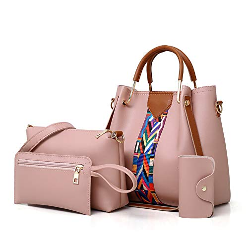 AlwaySky Damen Handtaschen Set 4 in 1 weiche PU Leder Top Griff Tasche, Einkaufstasche, Umhängetaschen Umhängetasche Geldbörse Set (Pink) -